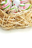 Colored Easter eggs into a nest from top Stock Image