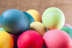 Colored Easter eggs,pile,stacked Stock Photo