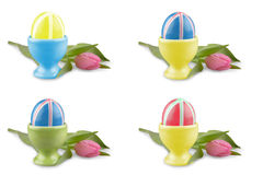 Colored Easter eggs with pink tulip as collage Stock Photos