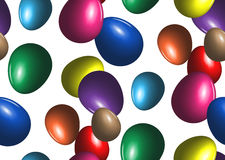 Colored easter eggs seamless background. Traditional spring holiday decoration. Lot of bright vector objects on white Stock Photography