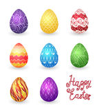 Colored easter eggs. Set of eight bright colored easter eggs Stock Image