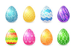 Colored easter eggs. Set of eight easter eggs with bright colored ornament Stock Photos