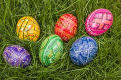 Colored Easter Eggs. Six Colored Easter Eggs in Grass stock images