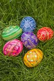 Colored Easter Eggs. Six Easter Eggs in grass stock image