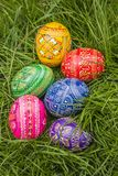 Colored Easter Eggs. Some Colored Easter Eggs in Grass Royalty Free Stock Photography