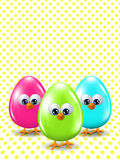 Colored Easter eggs standing on dotted background Stock Image
