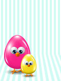 Colored Easter eggs standing on  stripped background Royalty Free Stock Image