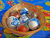 Colored Easter eggs in a wattled support Royalty Free Stock Photography