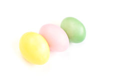 Colored  Easter eggs on white Stock Photos