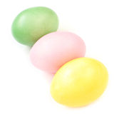 Colored  Easter eggs on white background Stock Photos