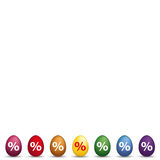 8 Colored Easter Egss Percentage. Easter colored eggs with percents Royalty Free Stock Images