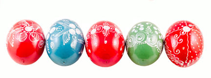 Colored Easter romanian traditional eggs Royalty Free Stock Photos