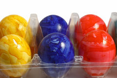Colored eggs. On the white background Stock Photo