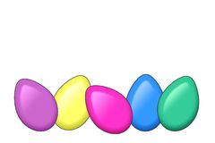 Colored eggs. Illustration of colored eggs on a white background Royalty Free Stock Photography