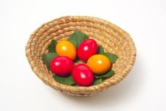 Colored eggs in basket Stock Photography
