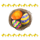 Colored Eggs in Bird Nest Isolated Illustration Royalty Free Stock Photos
