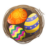 Colored Eggs in Bird Nest Isolated Illustration Royalty Free Stock Photo