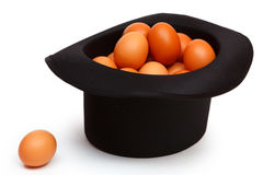 Colored eggs in the hat Royalty Free Stock Photos
