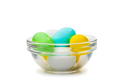 Colored Eggs in Cup Royalty Free Stock Images
