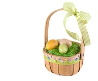 Colored  eggs in easter basket. Colored  eggs in easter basket on white background Royalty Free Stock Photography