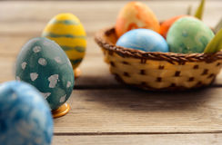 Colored eggs on Easter day Royalty Free Stock Photos