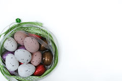 Colored eggs, Easter Sunday, white background, copy space Stock Photo