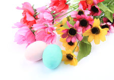 Colored eggs and flowers. On the white background Stock Image