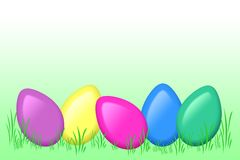Colored eggs in grass. Illustration of colored eggs in green grass Stock Image