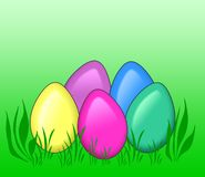Colored eggs in grass. Illustration of colored eggs in grass on green background Royalty Free Stock Photo