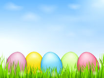 Colored Eggs in Grass Royalty Free Stock Photography