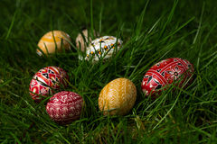 Colored Eggs In The Grass Royalty Free Stock Images