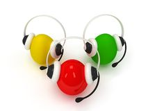 Colored eggs with headsets  over white Royalty Free Stock Image