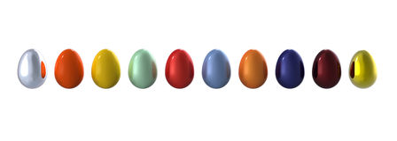 Colored eggs in line Royalty Free Stock Image