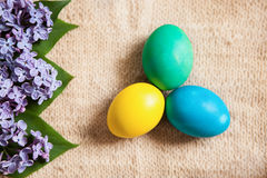 Colored eggs on old style background with flowers. Colored eggs different colors on old style background. Can be used for card, web design, poster, and different Stock Photography
