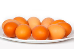 Colored eggs on a plate Stock Photo