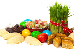Colored eggs traditional sweets Stock Photo