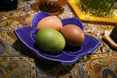 Colored Eggs!. Colored eggs which are traditionally part of Haftsin for Persian New Year Royalty Free Stock Photography
