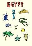 Colored Egypt icons set Royalty Free Stock Photo