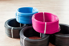 Colored electric cable Royalty Free Stock Images
