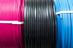 Colored electric cable Stock Photos