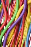 Colored electric cables closeup Stock Photos