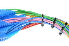 Colored electrical copper cables for electrician in corrugated pipes Stock Image