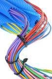 Colored electrical copper cables for electrician in corrugated pipes Stock Photos