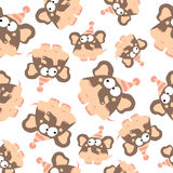 Colored elephants in retro style, seamless pattern Royalty Free Stock Images