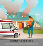 Emergency First Aid People Poster. Colored emergency first aid people poster with the transfer of the affected headline vector illustration Stock Images