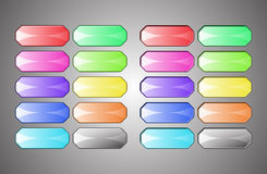 Colored empty buttons. Ten buttons in different colors. The first ten convex and 10 nested Stock Image