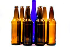 Empty glass bottles on a white background royalty free stock images