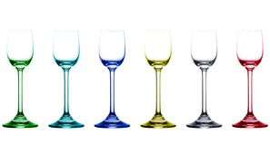 Colored empty liquor glasses Royalty Free Stock Images