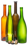 Colored empty open wine bottles and cork Stock Photos