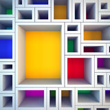 Colored empty shelves. Royalty Free Stock Image